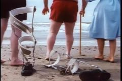 Disabled man walking towards ocean with friends stock video footage