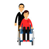 Disabled man in wheelchair, friend or social worker helping him colorful Illustration. On a white background stock illustration