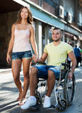 Disabled man in wheelchair outdoor Royalty Free Stock Photo