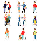 Disabled men and women characters getting medical treatment, health care assistance and accessibility  Illustrations. Isolated on white background Stock Photo