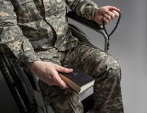 Disabled military male veteran praying stock images