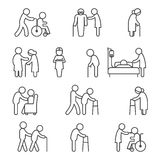 Disabled nursing and healthcare icons Royalty Free Stock Photo
