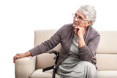 Disabled old woman at home Stock Images