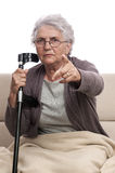 Disabled old woman pointing accusatory Royalty Free Stock Photography