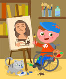 Disabled painter studio vector. Boy in wheelchair painting a Monnalisa in her atelier with palette, brushes, paints and a cute cat. Cartoon vector illustration Stock Photo