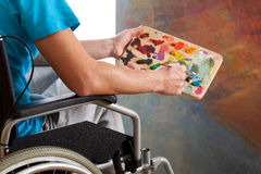 Disabled painter Stock Photo