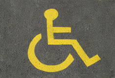 Disabled parking. A sign for disabled parking, on asphalt Royalty Free Stock Photography