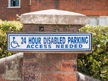 Disabled parking access only sign outside Royalty Free Stock Photography
