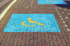 Disabled or handicapped parking bay. Stock Image