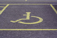Disabled parking bay. Car parking space for disabled drivers stock photo