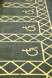 Disabled Parking Bays. Three empty disabled parking bays Royalty Free Stock Photography