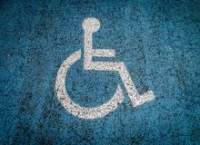 Disabled parking lot outdoors royalty free stock photos
