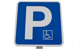 Disabled parking sign. On white background Stock Photo