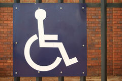 Disabled parking sign. Blue disabled parking sign royalty free stock image