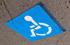 Disabled parking sign. Painted on road Stock Photography