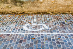 Disabled Parking. Disabled symbol for parking on the street Royalty Free Stock Image