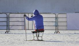 Disabled participant on ski track on ski marathon. In sunny day, sitting stock photo