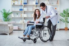 Disabled patient on wheelchair visiting doctor for regular check. Up Royalty Free Stock Photography