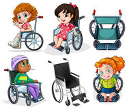 Disabled patients with wheelchairs. Lllustration of the disabled patients with wheelchairs on a white background Royalty Free Stock Photography