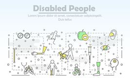 Vector thin line art disabled people poster banner template stock illustration