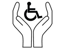 Disabled people care. Sign  illustration Stock Images