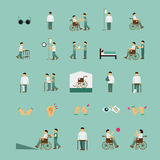 Disabled people care help flat icons set