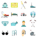 Disabled people care icons set, flat style Stock Photos