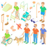 Disabled people care icons set, isometric 3d style Royalty Free Stock Photos