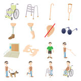 Disabled people care set Stock Images