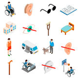 Disabled people care set Royalty Free Stock Photography