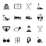 Disabled people care set, simple style Royalty Free Stock Images