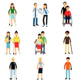 Disabled people characters, handicapped men and women getting medical treatment, health care assistance and accessibility  I. Llustrations isolated on white Stock Photo