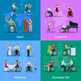 Disabled People 4 Flat Icons Square Royalty Free Stock Image