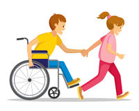 Disabled people and friend. Royalty Free Stock Photo