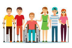 Disabled people and friend. Royalty Free Stock Images