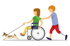 Disabled people and friend. Royalty Free Stock Photos