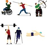 Disabled people go in for sports. Disable Handicap Sport swimming, running weightlifting archery vector illustration