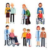 Disabled people group or hospital patients and helping man. Vector illustrations isolate on white background. Disabled people group or hospital patients and stock illustration