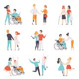 Disabled people having a good time with their friends set, handicapped person enjoying full life vector Illustrations on. Disabled people having a good time with Stock Images