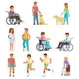 Disabled people vector flat isolated icon set vector illustration