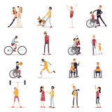 Disabled People Icons Set Royalty Free Stock Image
