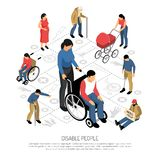 Disabled People Isometric Composition vector illustration