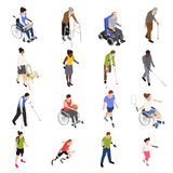 Disabled People Isometric Set stock illustration