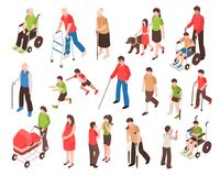 Disabled People Isometric Set. Isometric set with disabled people in wheelchair, with prosthetic limbs, blind and elderly persons isolated vector illustration Stock Photos