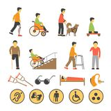 Disabled people and necessary equipments with signs poster Royalty Free Stock Images