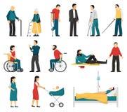 Disabled People Set Stock Photos