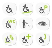 Disabled people signs Stock Images