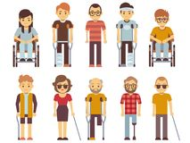 Disabled people vector set. old and young invalid persons isolated on white background Royalty Free Stock Image