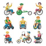Disabled people in wheelchair vector character of handicapped person with physical disability illustration set of. Invalid man sitting in wheeled chair with Stock Photography