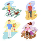 Disabled Person Compositions.Positive Bright Pictures. Vector Cartoon Illustration. Royalty Free Stock Images